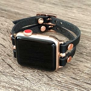 Black Leather & Rose Gold Apple Watch Band Strap